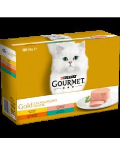 """Gourmet """"Gold"""" mousselines Poulet saumon rognons et lapin 12X85g"""