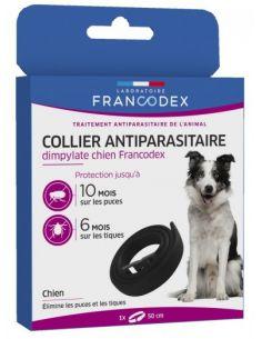 FRANCODEX Collier Antiparasitaire Dimpylate Pour Chiens  50 cm - NOIR