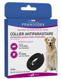 FRANCODEX Collier Antiparasitaire Dimpylate Pour Chiens 70 cm - NOIR
