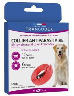 FRANCODEX Collier Antiparasitaire Dimpylate Pour Chiens 70 cm - ROUGE