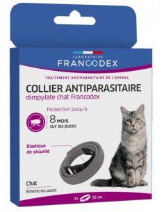 FRANCODEX Collier Antiparasitaire Dimpylate Pour Chats GRIS