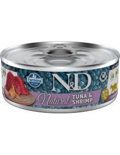N&D chat natural thon & crevette 80G