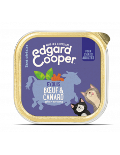 BARQUETTE CHAT ADULTE BOEUF CANARD 85G EDGAR COOPER